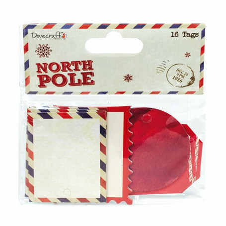 Chipboard Tags 16pc North Pole – Dovecraft