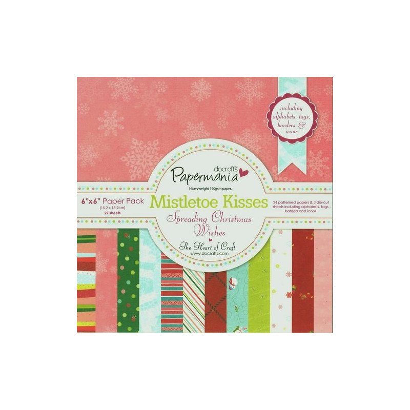 Set de papier 15x15 Mistletoe Kisses (27f) – Docrafts Papermania