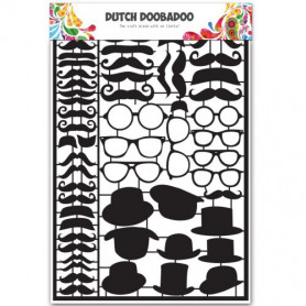 Embellissements papier A5 Black Moustaches – Dutch Paper Art - Dutch Doobadoo