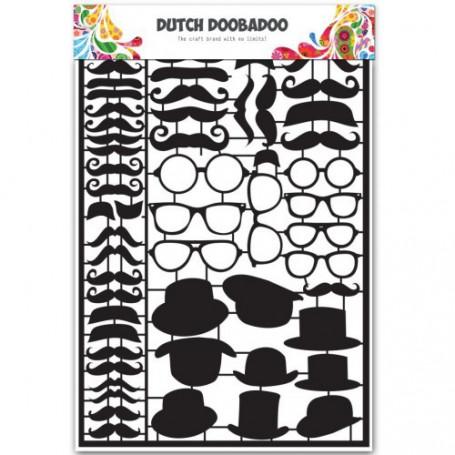 Embellissements papier A5 Black Moustaches – Dutch Paper Art - Dutch Doobadoo