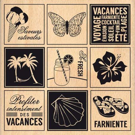 Tampon bois Etiquettes estivales - Florilèges Design