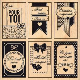 Tampon bois Etiquettes fait main - Florilèges Design