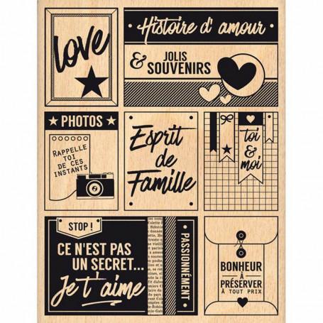 Tampon bois Passionnément famille - Florilèges Design