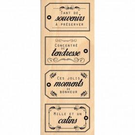 Tampon bois Souvenirs câlins - Florilèges Design
