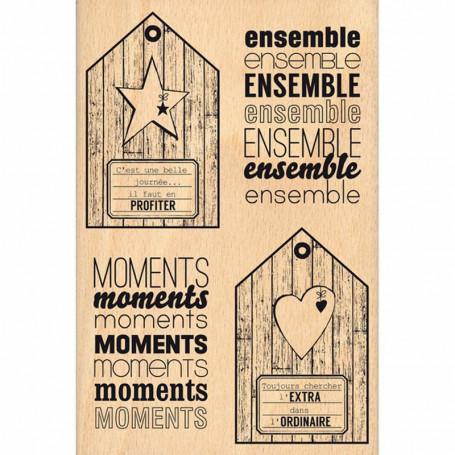 Tampon bois Tags de bois - Florilèges Design