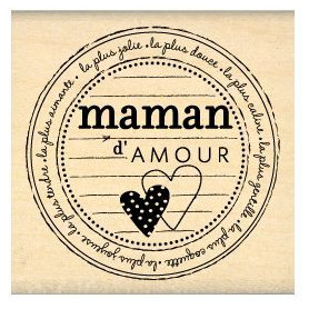 Tampon bois Maman d'amour - Florilèges Design