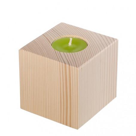 Bougeoir en bois cube 8 cm– Dhondt