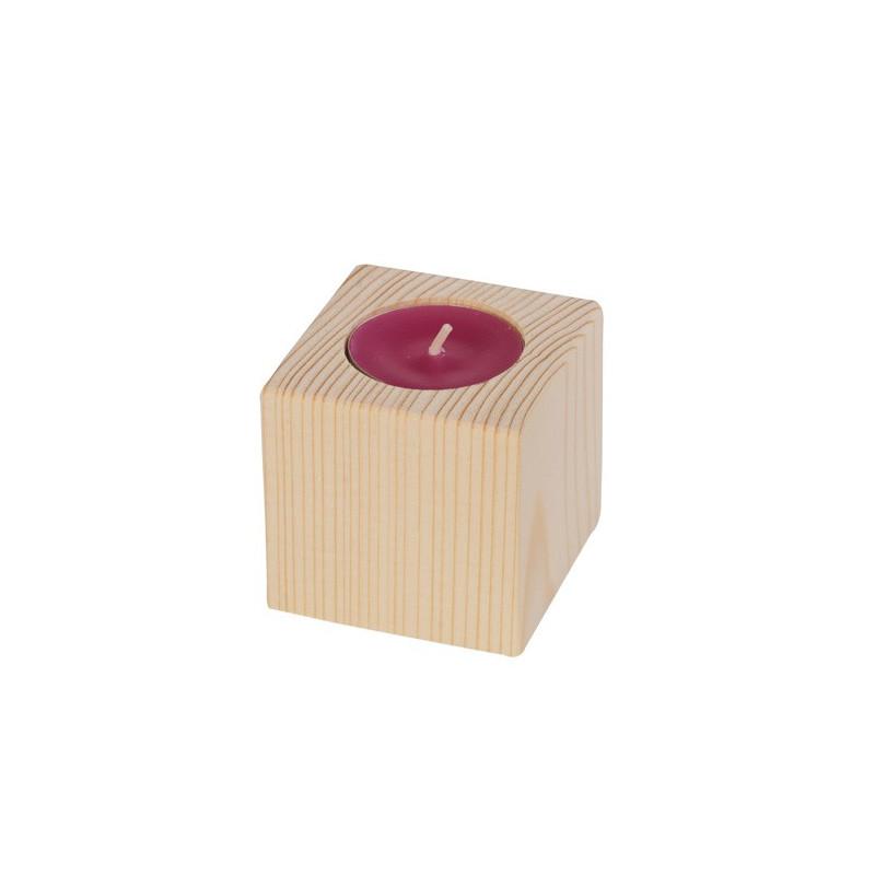 Bougeoir en bois cube 6 cm– Dhondt