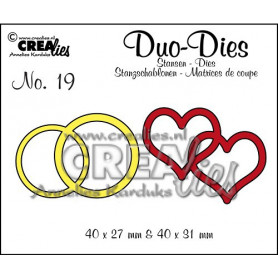 Duo Dies no. 19 Double Rings and Hearts - Crealies