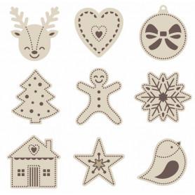 Set de mini silhouettes en bois Noël - Artémio