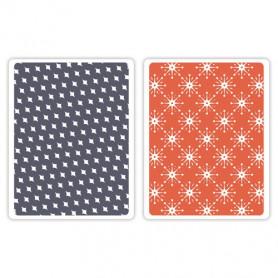 Classeurs de gaufrage A6 Yuletide Boulevard Set 2 pc - Sizzix Textured Impressions Embossing Folders