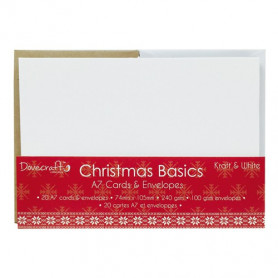 Cartes et enveloppes Christmas Basics Kraft and White A7 – 20pc – Dovecraft