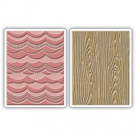 Classeurs de gaufrage A6 Drapery & Woodgrain Set 2 pc - Sizzix Embossing Folders by Tim Holtz