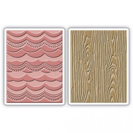 Classeurs de gaufrage A6 Drapery & Woodgrain Set 2 pc - Sizzix Embossing Folders by Tim Holtz