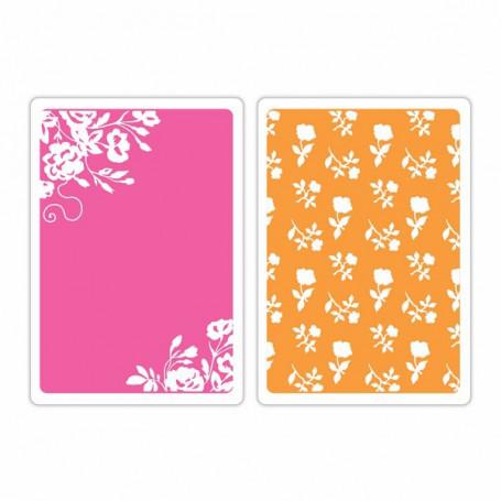 Classeurs de gaufrage A6 Border Blooms & Garden Roses pc - Sizzix Embossing Folders by Brenda Walton