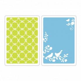 Classeurs de gaufrage A6 Songbirds and Lattice 2 pc - Sizzix Embossing Folders by Brenda Walton