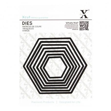 Dies Set de 7 Hexagones - Xcut Nesting Hexagons