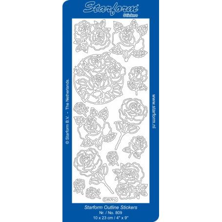 Autocollant Roses Doré Starform 809