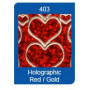 Autocollant Coeurs Holographic Rouge/Doré Starform 1139