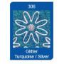 Autocollant Bordures de Noël Glitter Turquoise/Silver Starform 7045