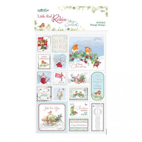A5 Foiled Postage Stamps (32p) - Little Red Robin - Docrafts
