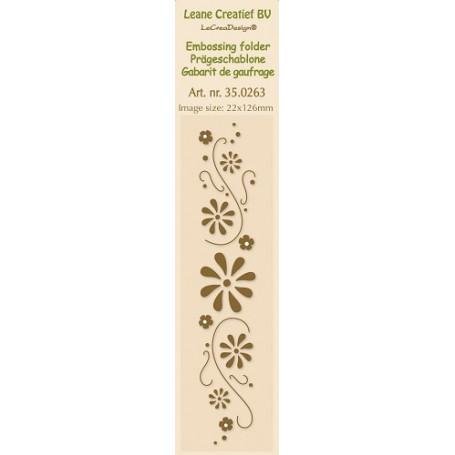 Classeur de gaufrage Frise tourbillon de fleurs 22x126mm - Leane Creatief Border embossing folder Flower swirls