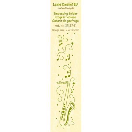 Classeur de gaufrage Frise saxophone 25x125mm - Leane Creatief Border embossing folder Saxophone