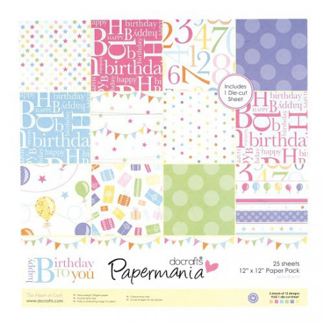 Set de papier 30x30cm Happy Birthday to You 25f - Docrafts Papermania