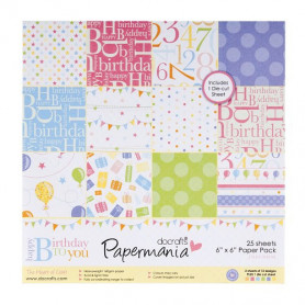 Set de papier 15x15 Happy Birthday to You 25f - Docrafts Papermania