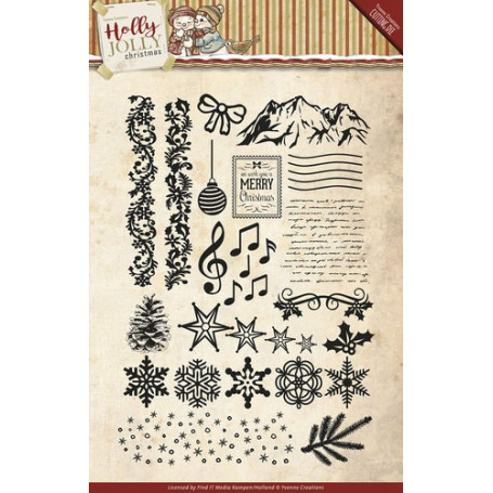 Tampons Holly Jolly Christmas - Yvonne Creations - Clearstamps