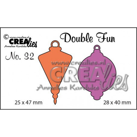 Dies Double Fun no. 32 Christmas ornament C + D solid small - Crealies