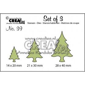 Dies Set of 3 Christmas Trees Thin - Crealies