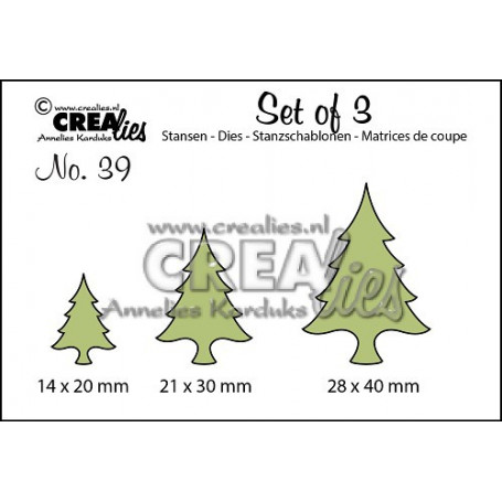 Dies Set of 3 Christmas Trees Thin - Crealies