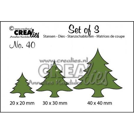 Dies Set of 3 Christmas Trees Wide - Crealies