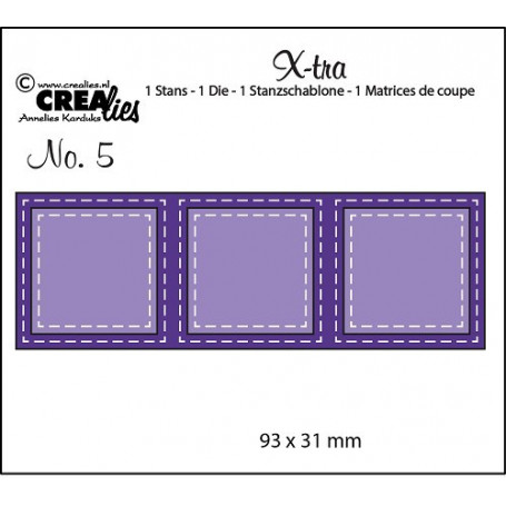 Die Xtra no. 5 - 3 Squares double stitched - Crealies