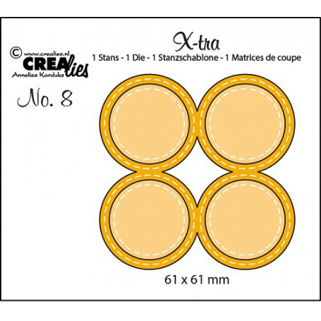Die Xtra no. 8 - 4 Circles double stitched - Crealies