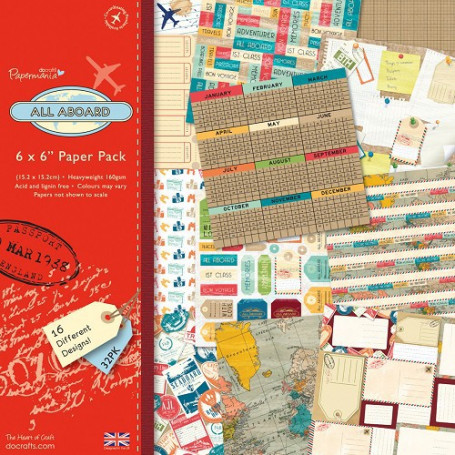 Set de papier 15x15 All Aboard 32f - Docrafts Papermania