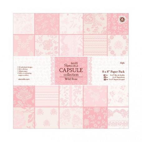 Set de papier 20x20 Wild Rose (32f) – Capsule Docrafts Papermania