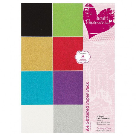 Set de papier A4 Glittered 16f –  Docrafts Papermania