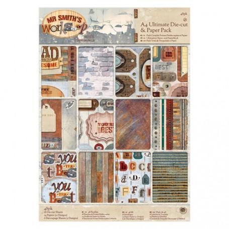 Set de papier et Die-cut A4 Mr Smith's Workshop 48f - Docrafts Papermania