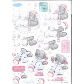 A4 Glittered Decoupage Winter Friends (2pc) - Winter Wonderland - Me To You