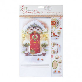 A5 Foiled Decoupage Card - At Christmas Time (Welcome Home) - Docrafts Papermania