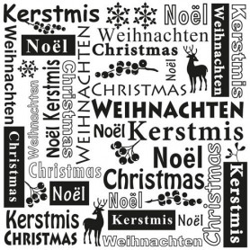 Classeur de gaufrage 15x15cm Christmas Multi Language Text - Nellie's Choice Embossing folder