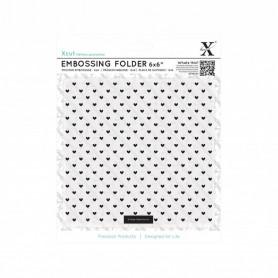 Classeur de gaufrage 15x15cm Coeurs – Xcut – Embossing folder 6x6 Small Polka Hearts