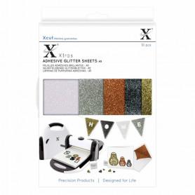 Feuilles adhésives brillantes Métalliques A5 (10pc) - Xcut Xtra's Adhesive Glitter Sheets Metallics