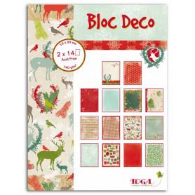 Set de papier Bloc Déco Noël Forêt enchantée 15x20cm 28f - Toga
