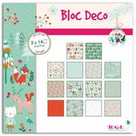 Set de papier Bloc Déco Noël en forêt 20x20cm 28f - Toga