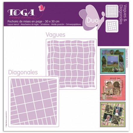 Pochoirs de mises en page Duo Vagues et Diagonales 30x30 cm - Toga