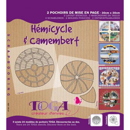 Pochoirs de mises en page Duo Hémicycle et Camembert 30x30 cm - Toga