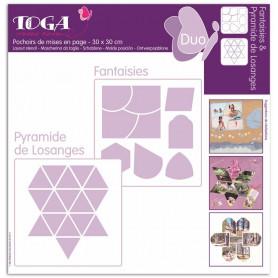 Pochoirs de mises en page Duo Fantaisies et Pyramide de Losanges 30x30 cm - Toga